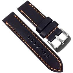 Herzog Hunter Vintage Ersatzband Uhrenarmband Leder Band Schwarz Fliegerband Optik 21666S, Stegbreite:24mm