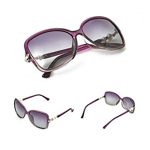 Z&HA Polarized Lens Sonnenbrille - Circular Pearl Mit Crystal Diamonds Großrandige Brillen-Proof-Brille Mit Kurzsichtige Objektive, Frauen Premium-Mode-Accessoires Geschenke,Purple