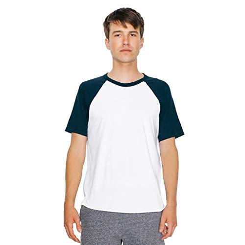 American Apparel Unisex Kontrast Poly/Baumwolle Raglan T-Shirt (XL) (Weiß/Schwarz) (American Apparel-track Shirt)