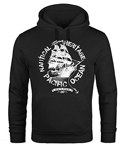 Hoodie Herren Segel Schiff Black Pearl Kapuzen-Pullover Männer Neverless® schwarz M