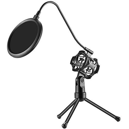 Neewer Treppiedi Stand di Microfono da Tavolo Professionale con Supporto Anti-vibrazione & Filtro Paravento Anti-pop per Studio Registrazioni Vocali Podcast Online Chat Riunioni & Lezioni (NW-2)