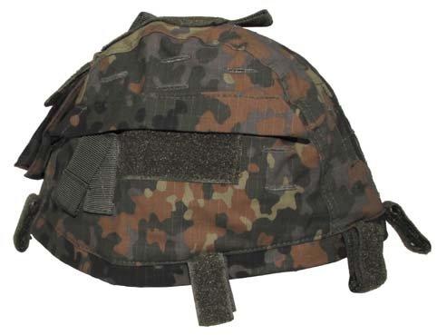 Helmbezug mit Taschen, größenverstellbar, flecktarn