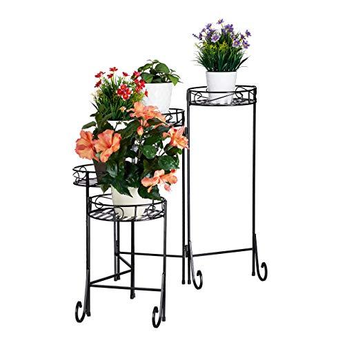 Relaxdays, schwarz Blumentreppe Metall, 5-stufig, rund, innen & außen, Vintage Blumenständer, klappbar, HBT 65x125x23cm