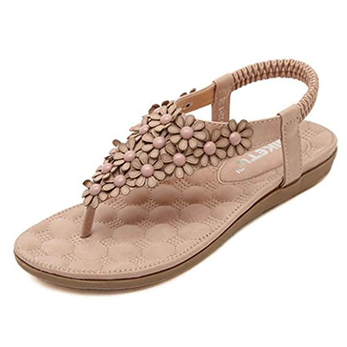 Sommer Neue Bohemian Sandalen Damen, DoraMe Frauen Flip-Flops Schuhe Mode Süße Perlen Strand Schuhe Clip Toe Gladiator Bequeme Pantoletten (37, Rosa) (Perlen Sandalen Flache)