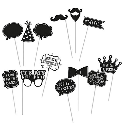 PARTY DISCOUNT® Photo Booth Set Black & White Birthday, 13tlg.