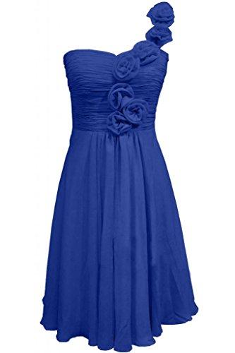 Victory Bridal Glamour Ein-Schulter mit Blumen Minikleider Abendkleider Kurz Chiffon Cocktailkleider Sommerkleider Brautjungfernkleider Royal Blau
