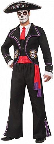 Herren-Kostüm Day of the Dead - Anzug mit mexikanischen Totenköpfen Gr. (Dracula Anzug)