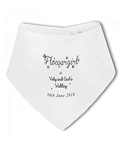 Flower Girl at Bride and Grooms Wedding with personalised name and date - Baby Bandana Bib
