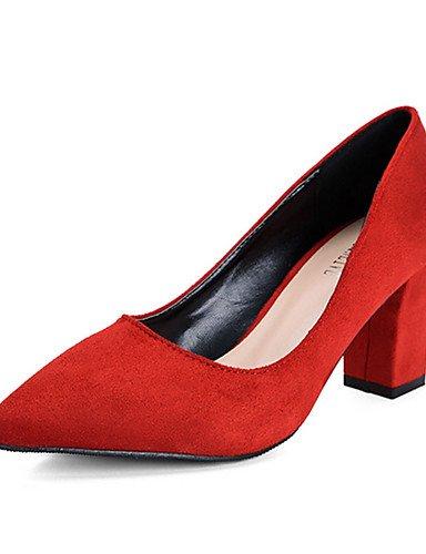 WSS 2016 Chaussures Femme-Décontracté-Noir / Rose / Rouge / Gris-Gros Talon-Talons-Chaussures à Talons-Laine synthétique gray-us6 / eu36 / uk4 / cn36
