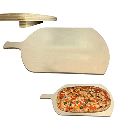 Bakaji 2817007 tagliere rettangolare con manico per pizza a metro legno, 37 x 72 cm
