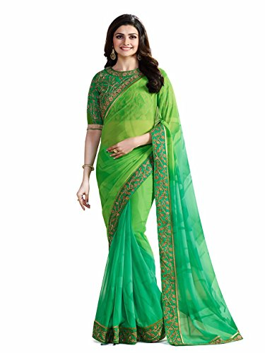 Tagline Women's Georgette Saree With Blouse Piece (Tag16057,Green-Parot,Free Size)