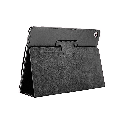 iPad Air/Air 2 Hülle, FANSONG Bifold Serie Litchi Angelköder Stria Ultra Dünnen Magnetische PU Leder Abdeckung Taschen [Standfunktion, Sleep Funktion] für Apple iPad Air/Air2/Pro (9,7) 2017, Schwarz