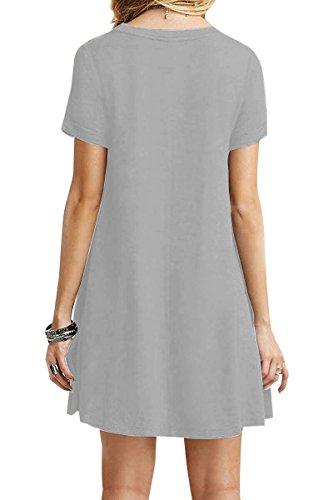 YMING Damen Casual Langes Shirt Lose Tunika Kurzarm T-Shirt Kleid 24 Farbe,XS-XXXXL(32-50) Hell Grau