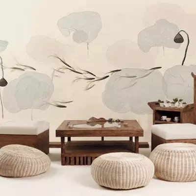 Loaest Are Chinese Ink Lotus Wallpaper Bedroom Living Room Sofa Background Wallpaper Custom Large Murals Of Zen Tea,3D Silk Fabric (Seamless, Concave And Convex Texture),Wallpaper Only