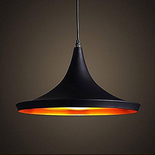 Moderne Industriel Beleuchtung Metall Schatten Loft Pendelleuchte Retro Deckenleuchte Vintage Lampenschirme Retro Küchenhänge Pendelleuchte E27(außen Schwarz Innen Gold) -
