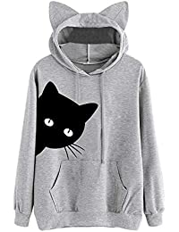 9a6463ff498 Femme Fille Sweat Court à Capuche Manches Longues Sweat-Shirt Chat De  Cosplay
