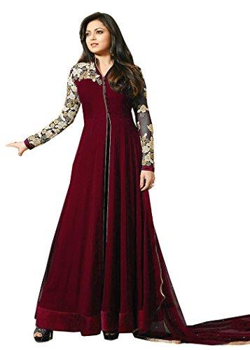 VIHA Maroon Georgette Embroidered Anarkali Salwar kameez