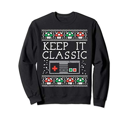 Keep It Classic Video Game Retro Ugly Christmas Gamer Gift Sweatshirt -