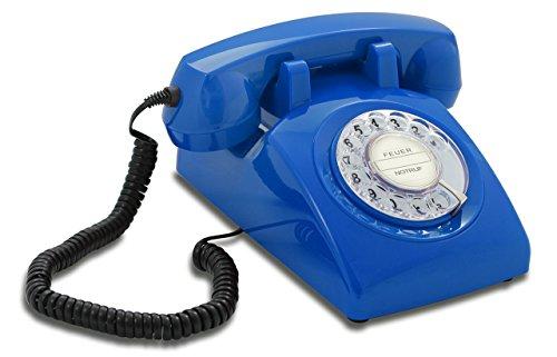 Opis 60s Cable mit Klassischem Deutsche Post Pappeinleger: Retro Telefon im sechziger Jahre Vintage Design mit Wählscheibe und Metallklingel (blau)