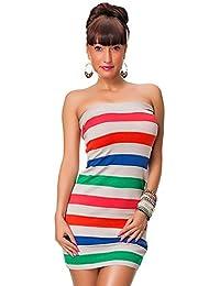 24brands Damen Kleid Mini-Bandeau-Kleid in Feinstrick gestreift in One Size - 2176