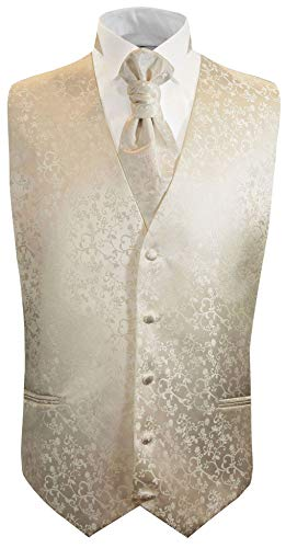 Paul Malone Hochzeitsweste Set 5tlg champagner florales Muster Gr.46/48