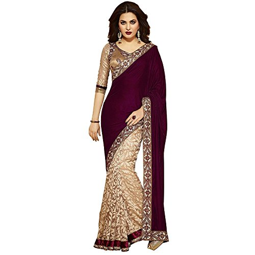 Esomic Women Georgette Saree(Free Size_Multi_Red_Velvet_4)