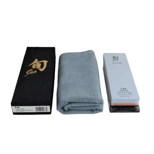 Kai DM-0708 Schleifstein | japanischer Kombi-Wasserschleifstein| für die perfekte Pflege ihrer Shun Damastmesser | 300/1000 Körnung | + superweiches Poliertuch, 40x40 cm