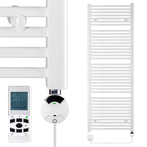 VEVASTO Badheizkörper elektrisch 1.662 x 600mm Handtuchheizkörper 900 Watt Handtuchtrockner weiß mit Smart Program Thermostat und Fernbedienung