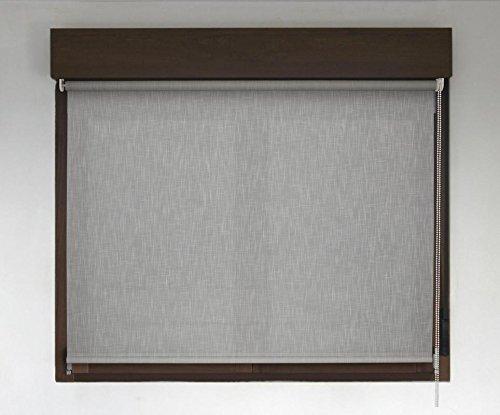 Estor enrollable a medida PREMIUM traslúcido efecto tela (permite paso de luz, no permite ver el exterior/interior). Estor translúcido color gris claro. Medida 120cm x 240cm para ventanas y puertas
