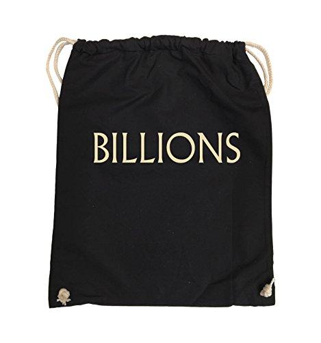 Comedy Bags - BILLIONS - LOGO - Turnbeutel - 37x46cm - Farbe: Schwarz / Silber Schwarz / Beige