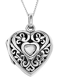 Ornami Sterling Silver Filigree Heart Locket Containing Mother of Pearl Central Heart with 46 cm Chain