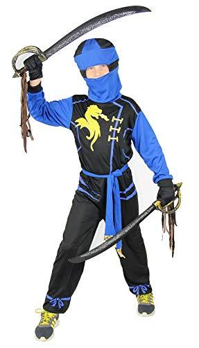 Foxxeo Drachen Ninja Kostüm für Jungen schwarzes Ninjakostüm Kinderkostüm, Größe:98/104, Farbe:Blau (Blau Ninja Kostüm)