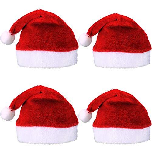 LuLyLu 4 Pezzi Cappello di Babbo Natale Breve Peluche Cappellini di Babbo Natale Cappello di Natale Santa Accessorio per Costumi, 2 Dimensioni per Bambini e Adulti by