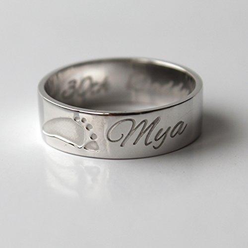 Anello con piedino di Bambino-Nuovo anello di mamma-Sterling Silver Bambino impronte anello