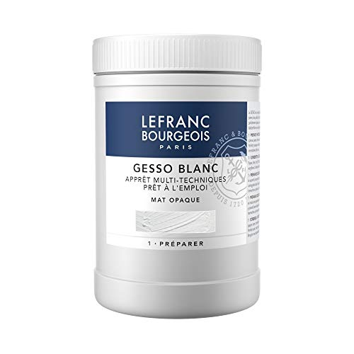 Lefranc & Bourgeois 300656Gesso, Blanco, universalgrundierung para colores acrílicos, listo para usar, mate opaco, opaco, para Lienzo, papel, piedra, madera, Yeso, 1000ml olla