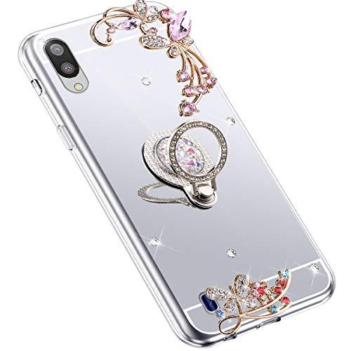 Uposao Kompatibel mit Samsung Galaxy M10 Hülle Glitzer Spiegel TPU Schutzhülle Bling Strass Diamant Silikon Hülle Glänzend Kristall Blumen Silikon Handyhülle mit Ring Ständer Halter,Silber