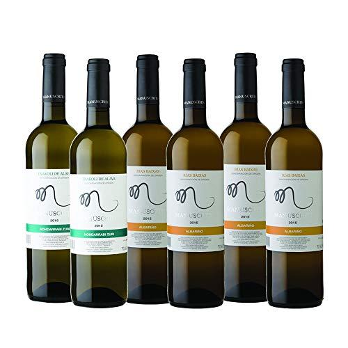 Vinos Manuscrito Pack 6 Botellas - Blanco (4x Albariño 100% - 2x Txakoli 100%)
