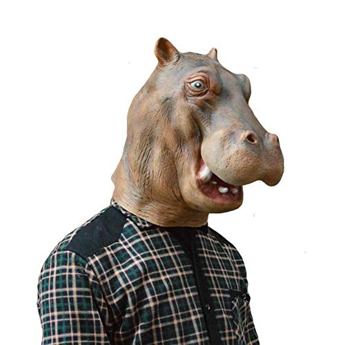 HOQTUM Halloween Maske Hippo Horror Latex Maske Wilden -