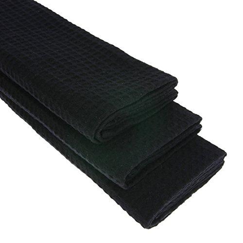 3x Geschirrtuch aus 100% Baumwolle Waffel-Piqué in schwarz