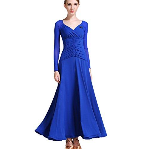 Rongg V-Ausschnitt Moderne Tanzkleider Für Frauen Performance Mesh Ärmel Trainieren Tanzkostüm Ballsaal-Tanz-Kleid Walzer Natürliches Kleid, treasure blue, XXL