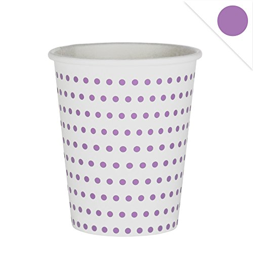 EinsSein 48x Pappbecher Dots 53x75x88mm weiß-lila Papierbecher Punkte Becher aus Pappe Partygeschirr Pappgeschirr