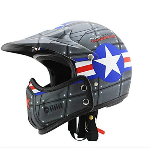 Berrd Casco moto retrò motocross Retro Cafe Racing Hornet Casco viso aperto Casco moto integrale Casco moto modulare 4 senza maschera L