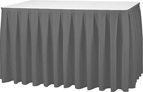 Gastro Uzal Skirting Excellent 520x73 cm anthrazit/grau Tischrock/Kellerfalte für die Tischgrößen 170 x 80 cm / Ø160 cm geeignet mit rückseitigem Klettband
