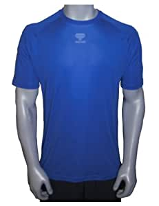 Roizo Men's DSG Fitness Shirt with Clear Grip Pad, Blue, Small