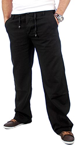 Reslad Leinenhose Männer Chino Herren-Hose lockere Sommer Stoffhose Freizeithose aus bequemer Baumwolle lang RS-3000 Schwarz Größe L