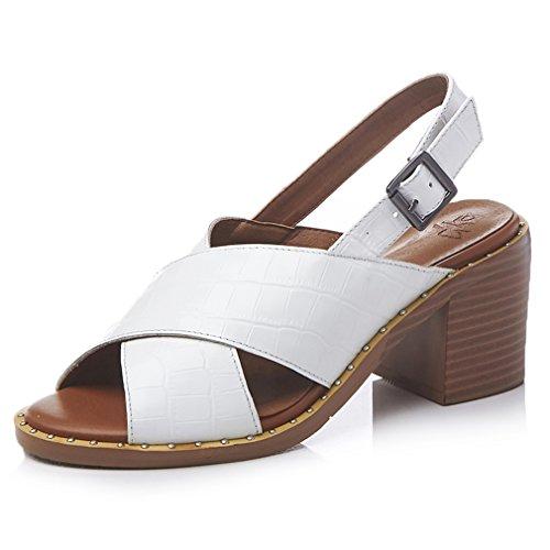 Blocco Estivi Scarpe Scivolare Enmayer Bianco Tacchi Di Dei Modo 3 Sandali Per Pelle Donne Bovina Aperte Fibbia Casuali Della qqawpZ