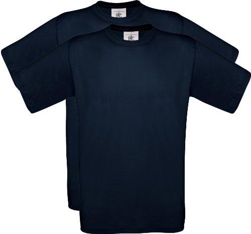2er PACK T-Shirt mit kurzem Ärmel, Rundhalsbund. T-Shirt aus 100% ringgesponnener Baumwolle Navy (Dunkelblau)
