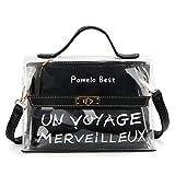 Pomelo Best Sac Messenger Mini Bandoulière Femme Cabas Sac D'épaule Sac Fourre-Tout Transparent avec bandoulière ajustable, Noir