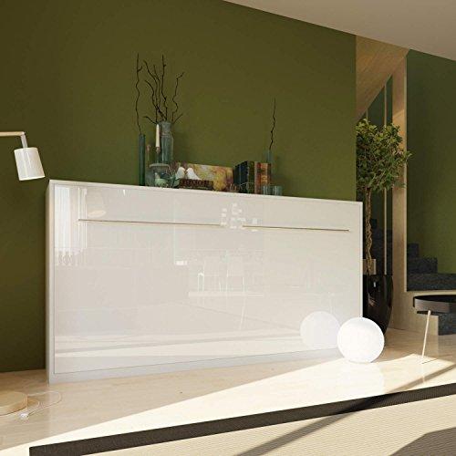 Schrankbett 90x200 cm Horizontal Weiss/ Weiss Hochglanzfront, Schrankklappbett & Wandbett SMARTBett