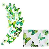 Trexee Set Of 12 Pc Decorative Beautiful 3D Butterfly Removable Wall Sticker Home Wall Décor Sticker For Living Room,Bed Room,Study Room,Fridge, AC, Nursery Decoration- Green Color (Random Design)
